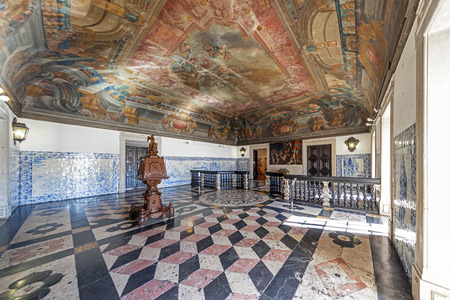18th century: Baroque Entrance Hall  Sala da Portaria  with a large lectern of the Sao Vicente de Fora Monastery  Very important monument of Lisbon, Portugal  Editorial