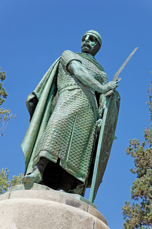 hill of the king: Statue of King Dom Afonso Henriques by the Sacred Hill in the city of Guimaraes  The first king of Portugal in the 12th century  UNESCO World Heritage Site  Editorial