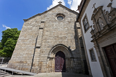 mendicant: Sao Francisco Church and Lar de Sao Francisco retirement home in Guimaraes, Portugal  Church is in the Mendicant Gothic style  UNESCO World Heritage Site