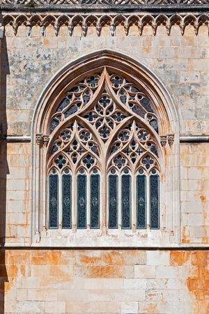 gothic window: Batalha Monastery  Tracery Gothic window in Capela do Fundador  Founder's Chapel   Portugal  UNESCO World Heritage Site  Editorial
