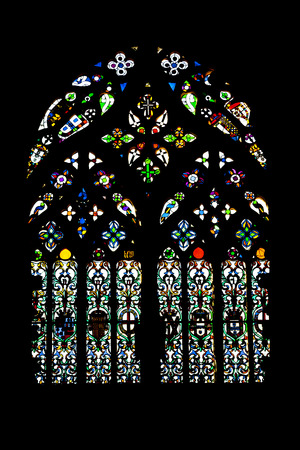 founders: Batalha Monastery  Gothic stained-Glass window in Capela do Fundador - Founders Chapel  Portugal  UNESCO World Heritage Site