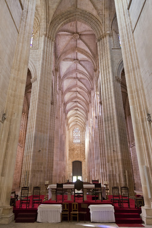 nave: Batalha Monastery  Altar and Nave of the Church  Gothic and Manueline masterpiece  Portugal  UNESCO World Heritage Site