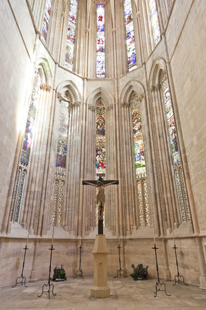 Batalha Monastery  Crucifix and Stained Glass windows in the Apse of the Church  Gothic and Manueline masterpiece  Portugal  UNESCO World Heritage Site