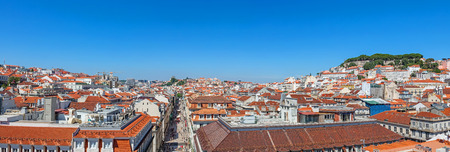 baixa: Panorama of the Baixa District of Lisbon with a view over the Bairro Alto, the Augusta Street, the Alfama and the Sao Jorge Castle, Lisbon, Portugal
