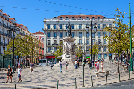 chiado: Lisbon, Portugal. August 31, 2014: Luis de Camoes Square near the Chiado and Bairro Alto Districts Editorial