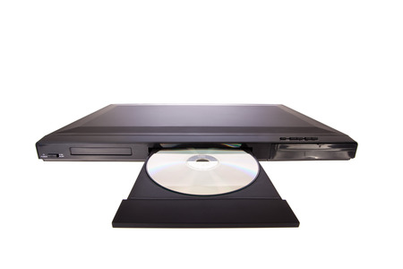 cd player: DVD player ejecting disc with remote control isolated on white  Stock Photo