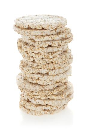 rice cake: Diet rice cakes pile isolated on white