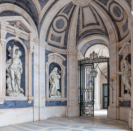 italian architecture: Italian Baroque sculptures - 18th century - in Mafra National Palace and Convent in Portugal. Baroque architecture. Franciscan religious order Editorial