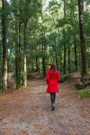 away: Young woman walking away alone on a forest path wearing a red overcoat