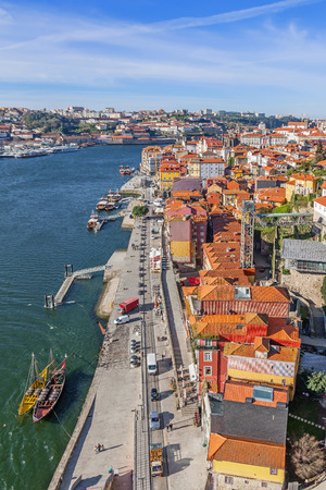rabelo: View of the historical Ribeira District and Douro River in the city of Porto, Portugal.