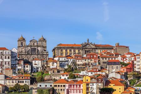 vitoria: Skyline of the old part of the city of Porto with a view over the Sao Bento da Vitoria Monastery on the left, and the Centro Portugues de Fotografia on the right.
