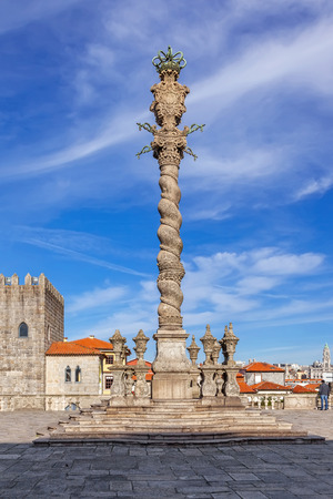 law of portugal: The Pillory placed in the Cathedral Square aka Terreiro da Se in front of the Porto Cathedral or Se Catedral do Porto.  Stock Photo