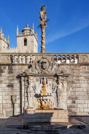 17th century: Rua Escura Fountain located near the Porto Cathedral and the pillory. 17th century architecture. Porto, Portugal.
