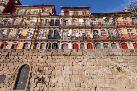 The typical colorful buildings of the Ribeira District in Porto, Portugal.