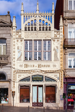 19th century: Porto, Portugal. January 5, 2015: The famous Lello e Irmao Bookstore, internationally considered as one of the most beautiful bookstores in the world due to its interior. Art Nouveau architecture