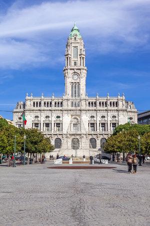 Porto, Portugal. December 29, 2014: The City Hall of Porto located at the top of the Aliados Avenue