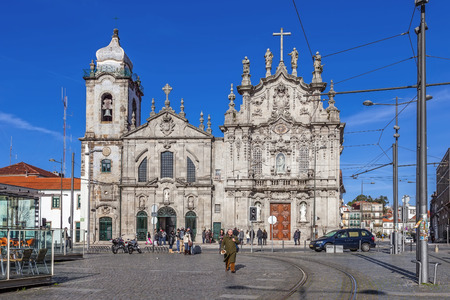 18th century: Porto, Portugal. December 29, 2015: Carmelitas Church on the left, Mannerist and Baroque styles, and Carmo Church at the right in Rococo style. Unesco World Heritage Site Editorial