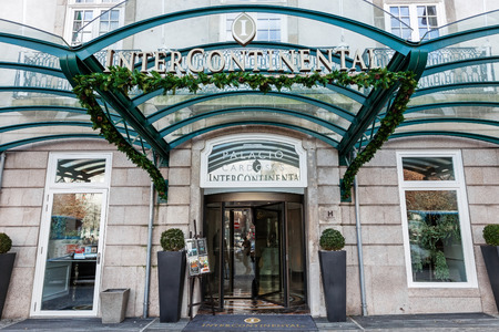 intercontinental: Porto, Portugal. January 5, 2015: Entrance of the Palacio das Cardosas Intercontinental Hotel facing the Aliados Avenue and Liberdade Square. A five stars hotel.