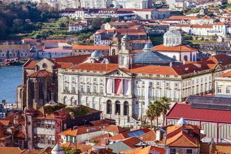 the 19th century: Porto, Portugal. December 29, 2014: Stock Exchange Palace, or Palacio da Bolsa. 19th century Neoclassical architecture. Unesco World Heritage Site Editorial