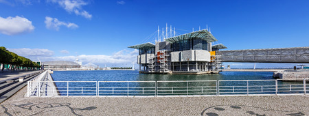 Lisbon Oceanarium, the second largest oceanarium in the world and the biggest in Europe with a view over the Parque das Nacoes, Lisbon, Portugal