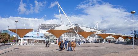 fil: Lisbon, Portugal - February 01, 2015: Visitors going to an exhibition in FIL (Feira Internacional de Lisboa  International Fair of Lisbon) in Parque das Nacoes (Park of Nations) Editorial