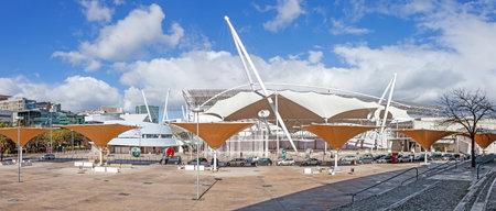 fil: Lisbon, Portugal - February 01, 2015: FIL (Feira Internacional de Lisboa  International Fair of Lisbon) in Parque das Nacoes (Park of Nations)