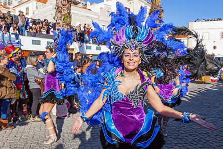 rio: Sesimbra, Portugal. February 17, 2015: Samba dancers members of the Ala Section, in the Rio de Janeiro Brazilian style Carnaval Parade.