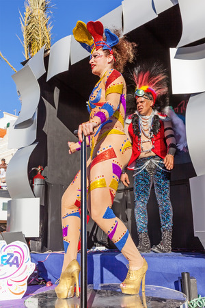 rio de janeiro: Sesimbra, Portugal. February 17, 2015: Samba dancer performing on top of a Float in the Rio de Janeiro Brazilian style Carnaval Parade.