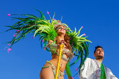 rio: Sesimbra, Portugal. February 17, 2015: Liliana Antunes and Daniel Gregorio, stars from the Secret Story Reality Show, performing on top of a Float in the Rio de Janeiro Brazilian style Carnaval Parade