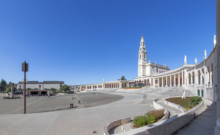 sanctuary: Sanctuary of Fatima, Portugal. Basilica of Nossa Senhora do Rosario and square. One of the most important Marian Shrines and pilgrimage location in the world for Catholics Stock Photo