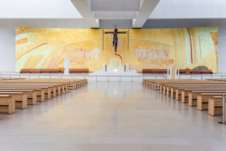 alexandros: Sanctuary of Fatima, Portugal. Interior of the modern Minor Basilica of Most Holy Trinity. Fatima is one of the most important pilgrimage locations for the Catholics in the world