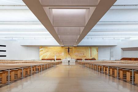 alexandros: Sanctuary of Fatima, Portugal, March 07, 2015 - Interior of the modern Minor Basilica of Most Holy Trinity. Fatima is one of the most important pilgrimage locations for the Catholics in the world Editorial