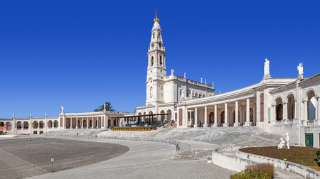 sanctuary: Sanctuary of Fatima, Portugal. Sanctuary of Fatima. Basilica of Nossa Senhora do Rosario and square. One of the most important Marian Shrines and pilgrimage location in the world for Catholics