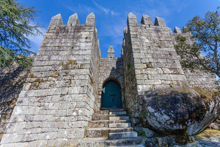crucial: Povoa de Lanhoso Portugal. April 6 2015: Entrance of the keep of the castle where the first king of Portugal imprisoned his mother after her defeat in the crucial battle for the independence