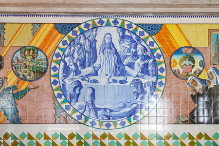last supper: S. Bento da Porta Aberta Portugal. April 06 2015: Last Supper. Crypt tiles showing Bible and St Benedict life. Pope Francis raised the Sanctuary to Basilica in its 400th anniversary on March 21st