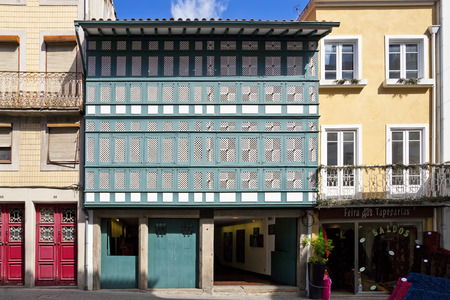 erected: Braga, Portugal - July 27, 2015: Casa dos Crivos or Gelosias. A typical 16th17th century house erected by an Archbishop. Editorial