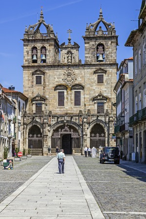 religious building: Braga, Portugal - July 27, 2015: Braga Cathedral, the oldest of all cathedrals in Portugal and a main Catholic worship place