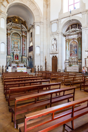 baroque architecture: Obidos, Portugal - August, 2015: Sanctuary of Senhor do Jesus da Pedra. Interior of the church. Baroque architecture.