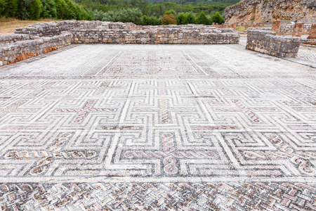 swastika: Complex and elaborate Roman tessera mosaic pavement in the House of the Swastika. Conimbriga in Portugal, is one of the best preserved Roman cities on the west of the empire.