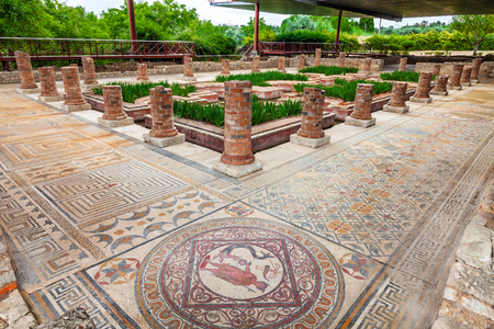 roman: House of the Fountains in Conimbriga. View of the very ornate mosaics, peristyle, garden and pond. Conimbriga in Portugal, is one of the best preserved Roman cities on the west of the empire.