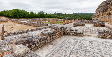 swastika: Roman ruins of Conimbriga. Overal view of the Swastika Domus, with the rooms, the peristyle and garden. Conimbriga, in Portugal, is one of the best preserved Roman cities on the west of the empire.