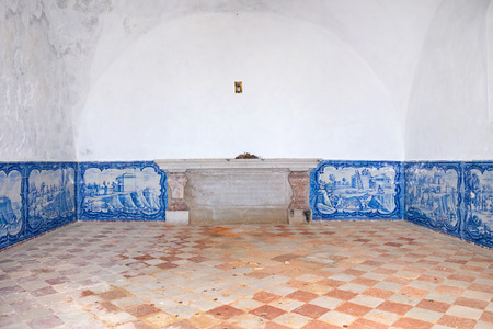senhora: Interior of the Ermida da Memoria Memory Hermitage of the Nossa Senhora do Cabo Sanctuary. Decorated with typical Portuguese Azulejos or Blue Tiles from the 18th century. Sesimbra, Portugal. Editorial