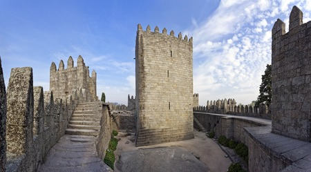 guimaraes: Guimaraes, Portugal - October, 2015: Guimaraes Castle interior, the most famous castle in Portugal as it was the birth place of the first Portuguese King and Portugal. Editorial