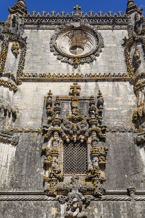 convent: Templar Convent of Christ in Tomar, Portugal. The famous Chapter House window  in the Manueline style.