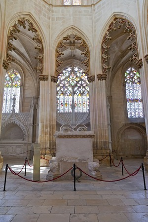 convent: Batalha, Portugal - March, 2015: Batalha Monastery. Gothic Tombs of King Dom Joao I and Queen Dona Filipa de Lencastre in the Capela do Fundador - Founders Chapel. Portugal.