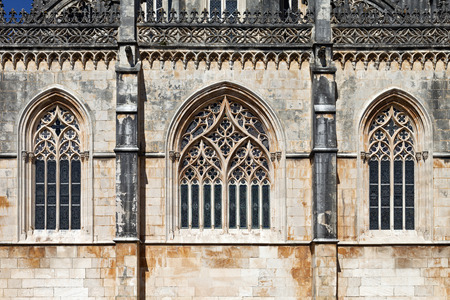 founders: Monastery of Batalha. Gothic windows in tracery of the Capela do Fundador Founders Chapel. Portugal.