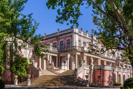 summer residence: Queluz, Portugal. Lions Staircase Escadaria dos Lees leading to the gardens of the Queluz Palace, Portugal. Formerly used as the Summer residence by the Portuguese royal family.
