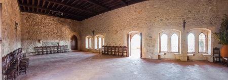 parlor: The parlor of the Gothic Palatial Residence Pacos Novos of the Leiria Caste. Leiria, Portugal.