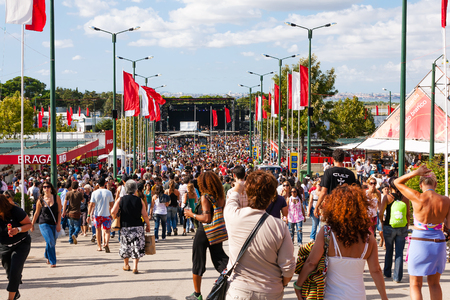 important event: Seixal, Portugal - September 5, 2015: Festa do Avante Festival in Quinta da Atalaia. The largest and most important Political-Cultural event in Portugal. Organized by the Portuguese Communist Party.