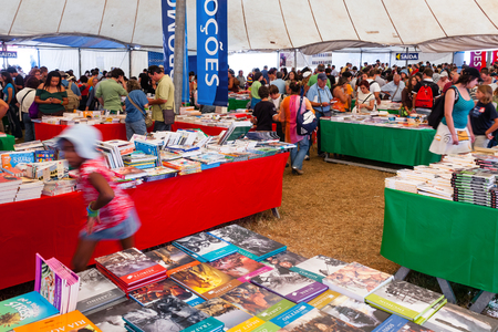 festa: Seixal, Portugal - September 5, 2015: Book Fair at the Festa do Avante Festival. The largest and most important Political-Cultural event in Portugal. Organized by the Portuguese Communist Party.